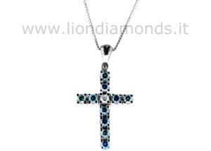 croce diamanti blu