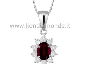 pendente rubino e diamanti