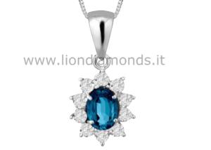 pendente zaffiro e diamanti
