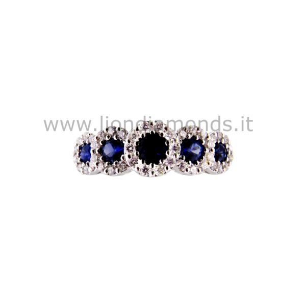anello zaffiri e diamanti