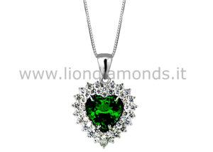 pendente smeraldo e diamanti