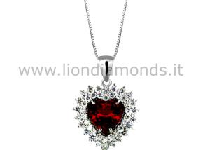 pendente rubino con diamanti