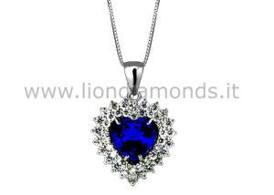 pendente zaffiro con diamanti